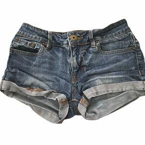 BULLHEAD low rise denim roll up shorts